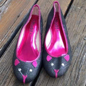 Mudd Glitter Cat Slip On Ballet Flats Sparkle